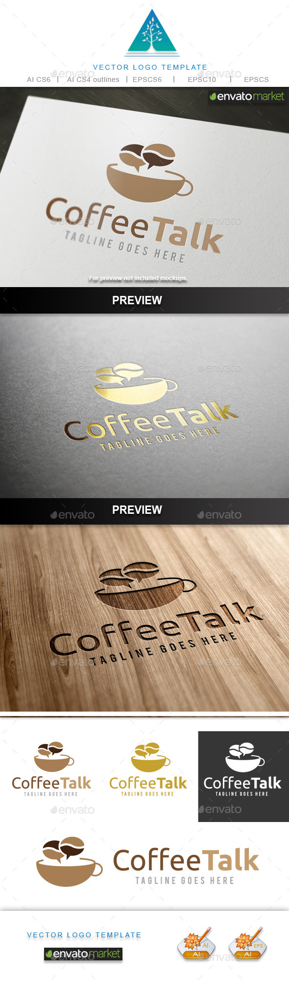 Coffee Talk 2 Logo - Food Logo Templates
