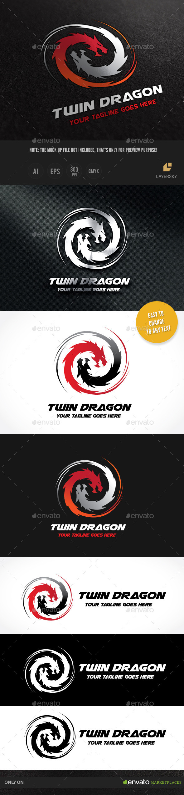 Dragon Twin  - Crests Logo Templates