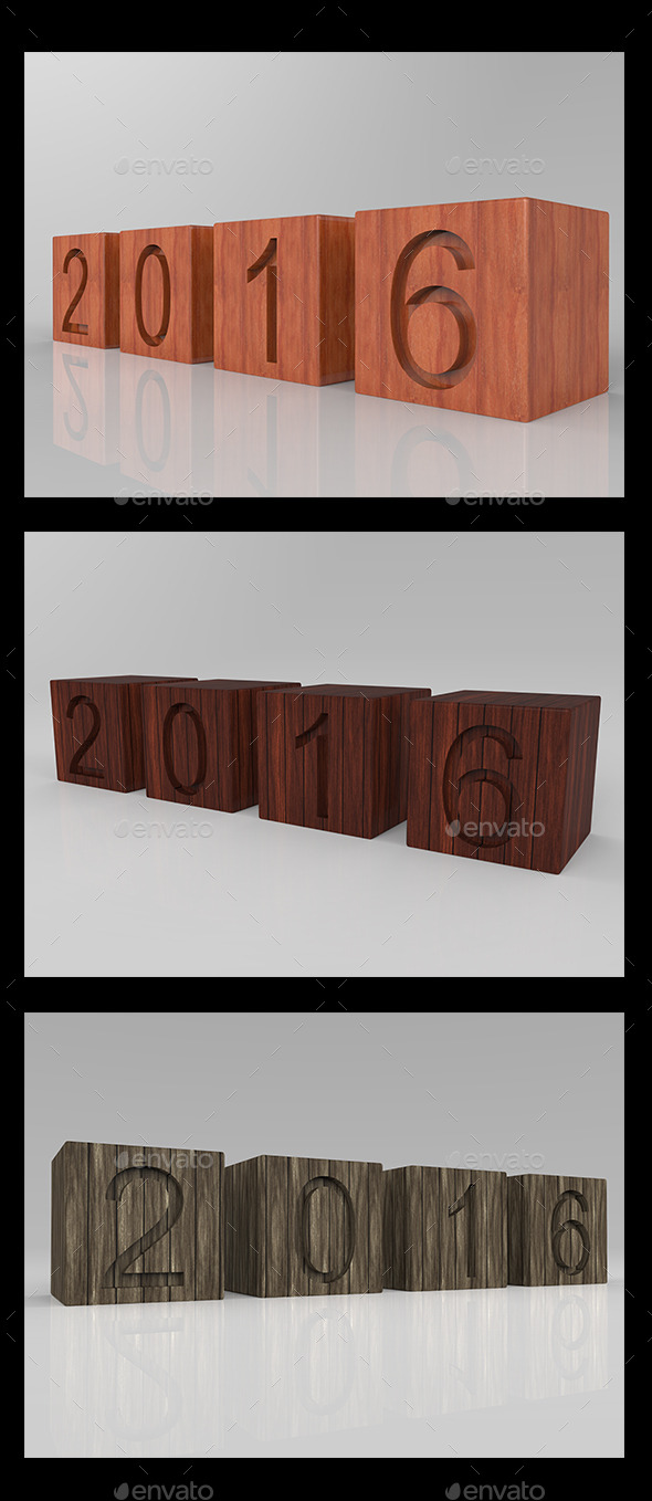 New Year 2016 3D Wood - 3D Backgrounds