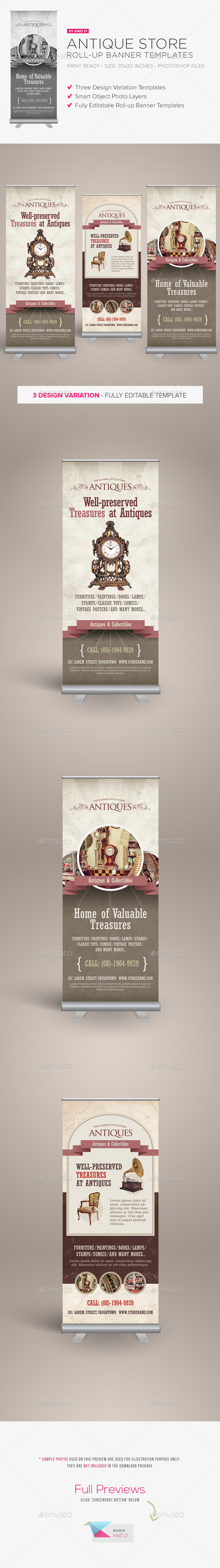 Antique Store Roll-up Banners - Signage Print Templates