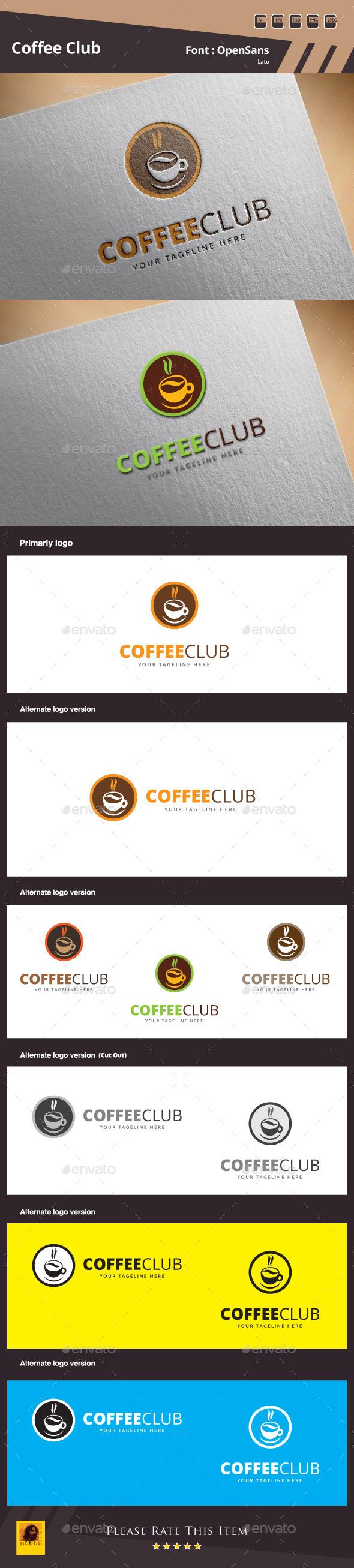Coffee Club Logo Template - Food Logo Templates
