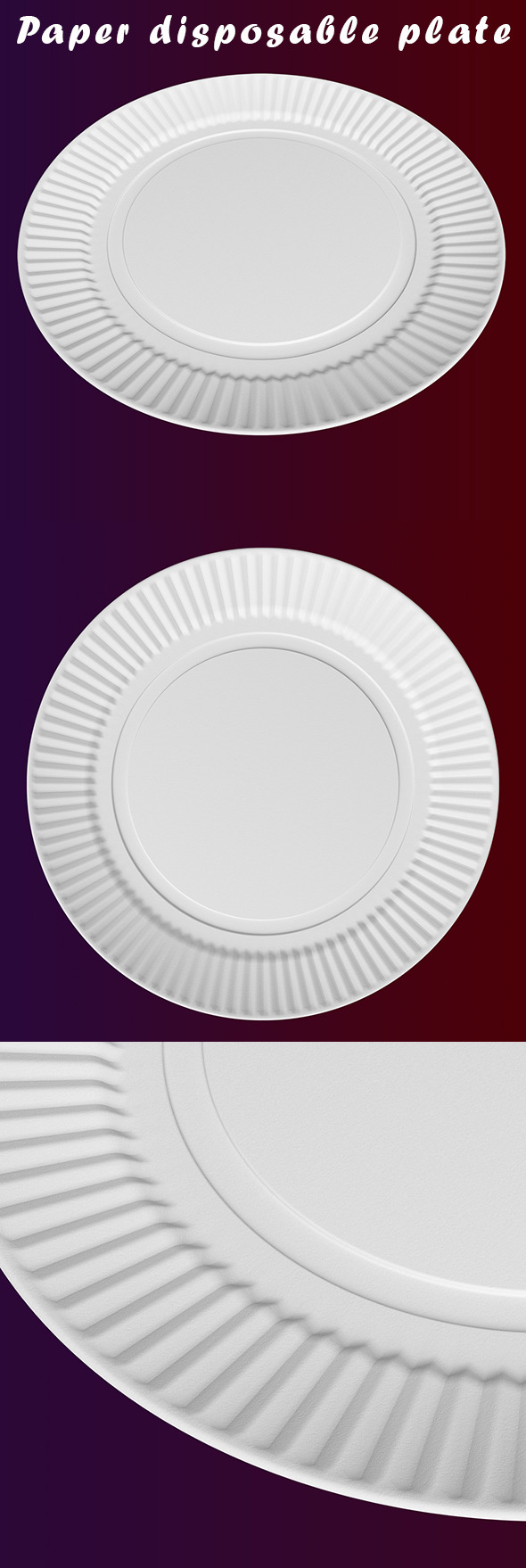 Paper disposable plate - 3DOcean Item for Sale