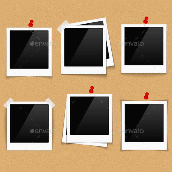 Photo Frames on Bulletin Board - Man-made Objects Objects