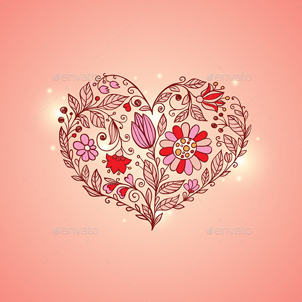 Hand Drawn Floral Heart - Valentines Seasons/Holidays