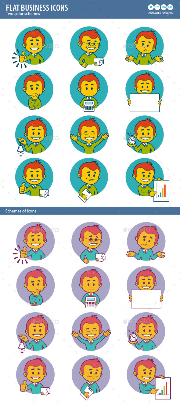 Two Sets of Flat Business Icons - Web Elements Vectors