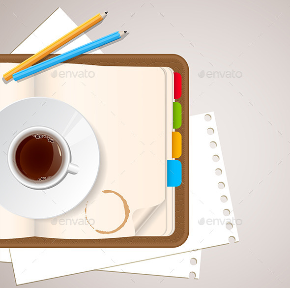 Notebook and Coffee - Backgrounds Business