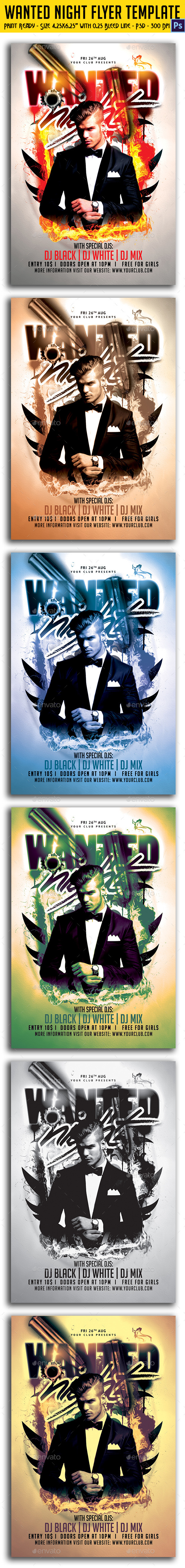 Wanted Night Party Flyer Template - Clubs & Parties Events