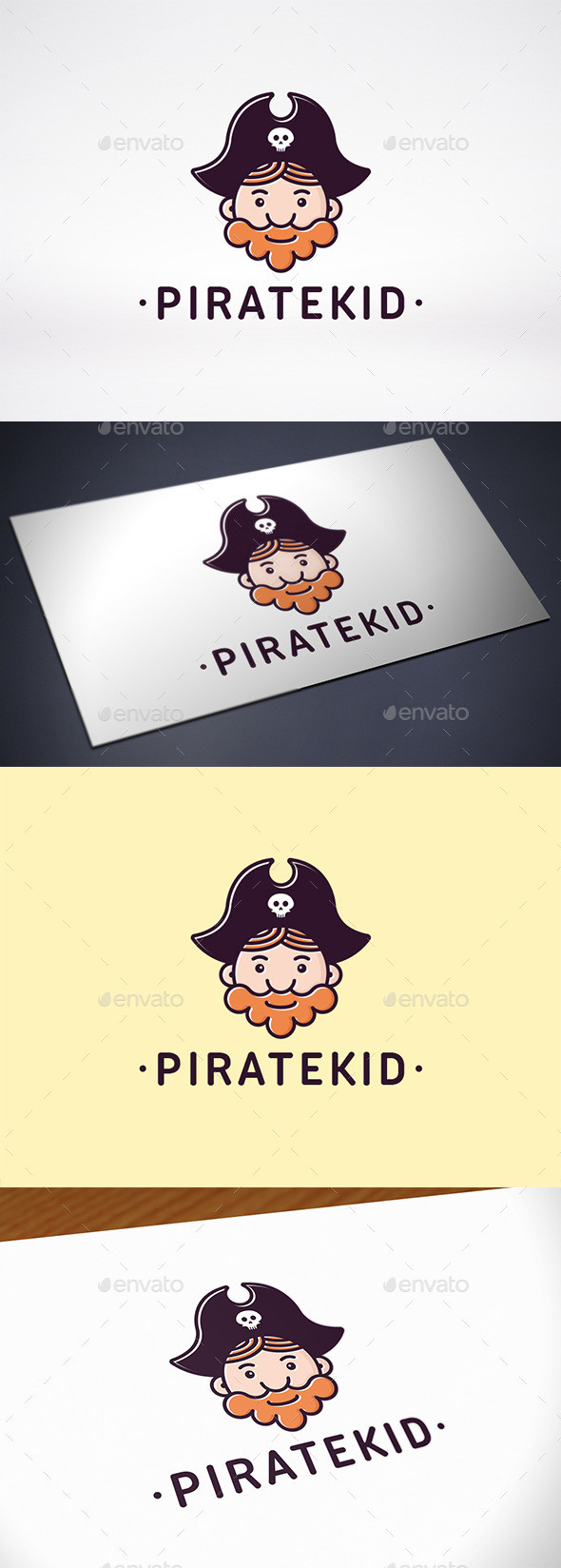 Pirate Kid Face Logo Template - Humans Logo Templates