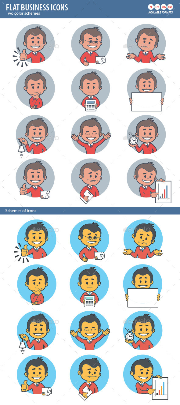 Two Sets of Flat Icon with Characters Businessman - People Characters