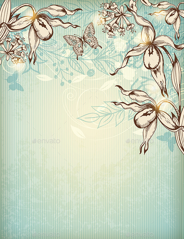 Hand Drawn Floral Background with Orchids - Flowers & Plants Nature