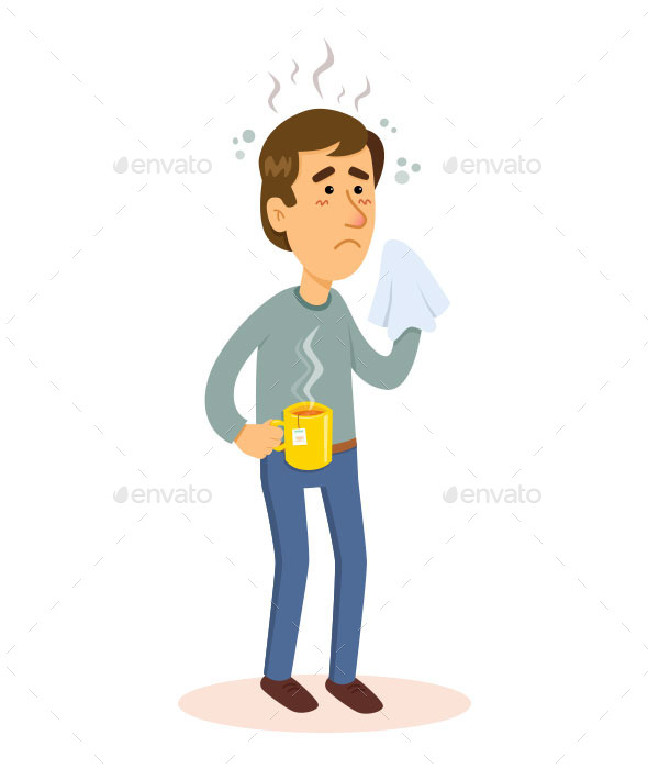 Man Sick with Flu - People Characters