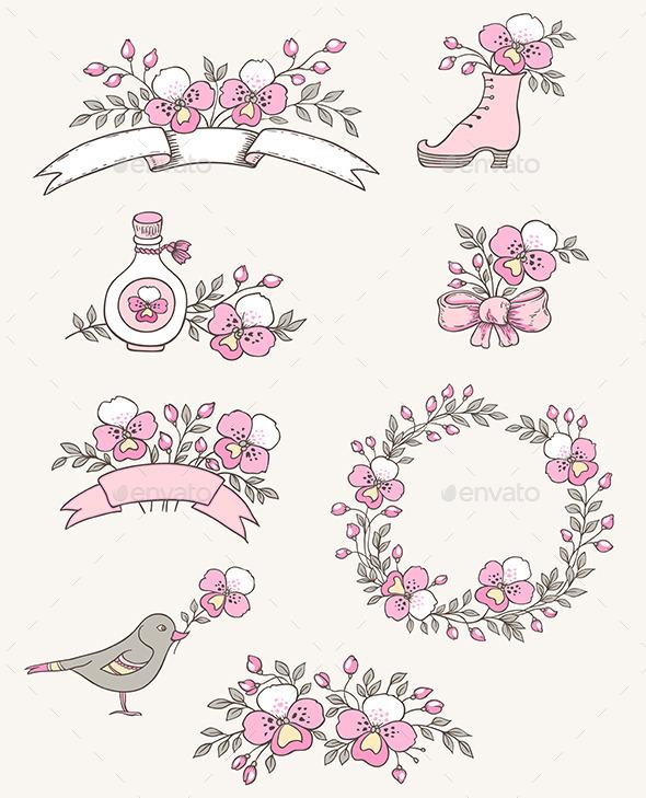 Doodle Design Elements with Orchids - Flowers & Plants Nature