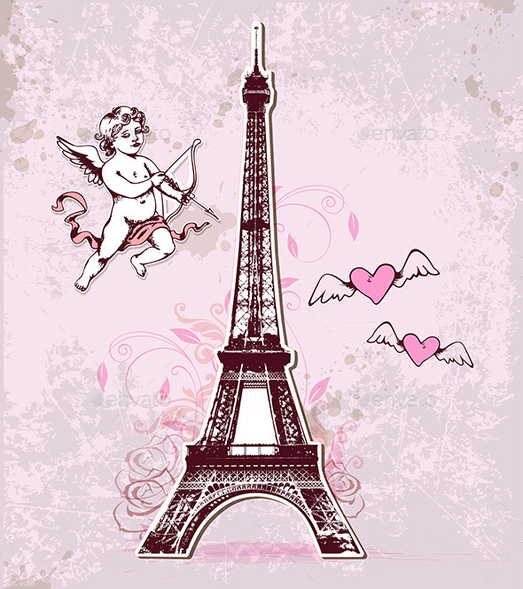 Vintage Card with Eiffel Tower and Cupid - Valentines Seasons/Holidays