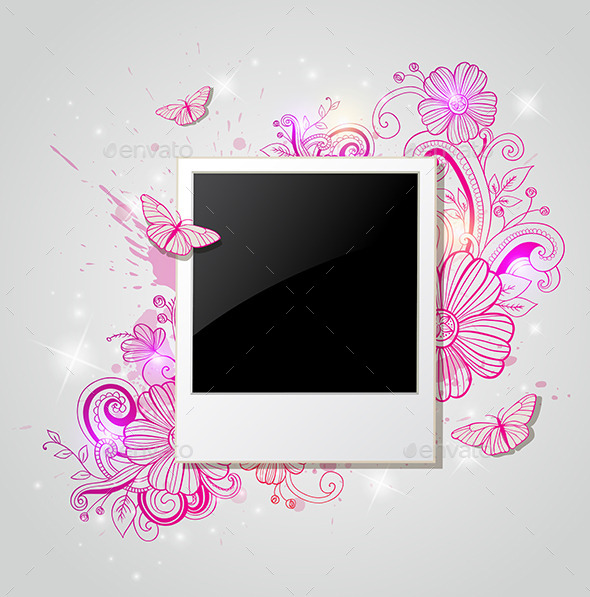 Background with Photo and Pink Flowers - Backgrounds Decorative