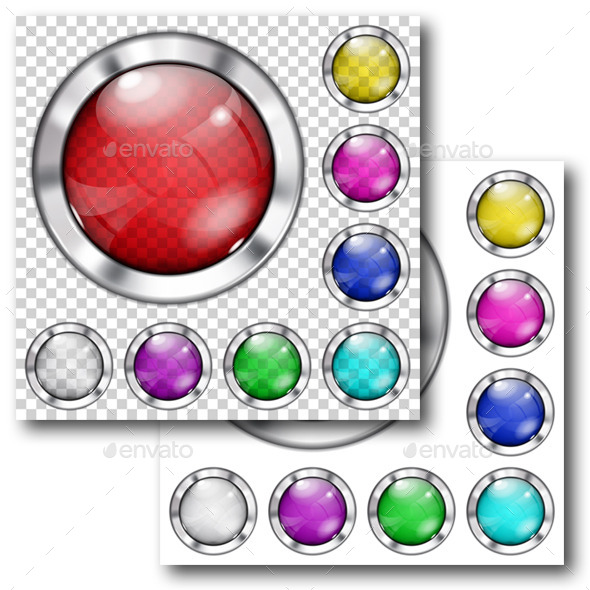 Set of Glass Buttons - Web Elements Vectors