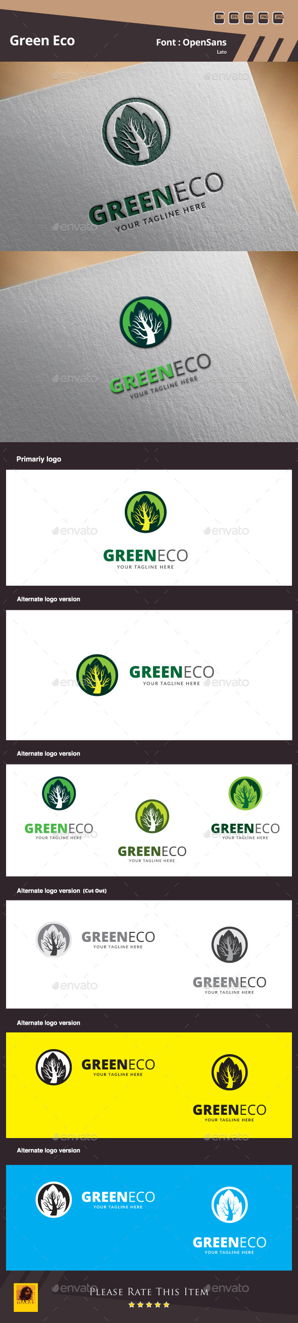 Green Eco Logo Template - Nature Logo Templates
