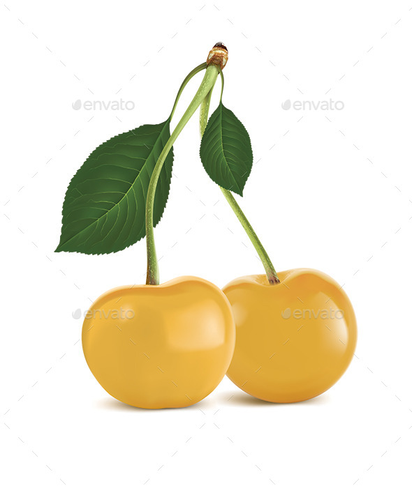 Yellow Cherry with Green Leaf - Food Objects