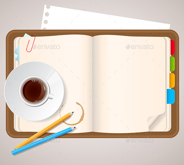 Notebook and Coffee Cup - Backgrounds Business