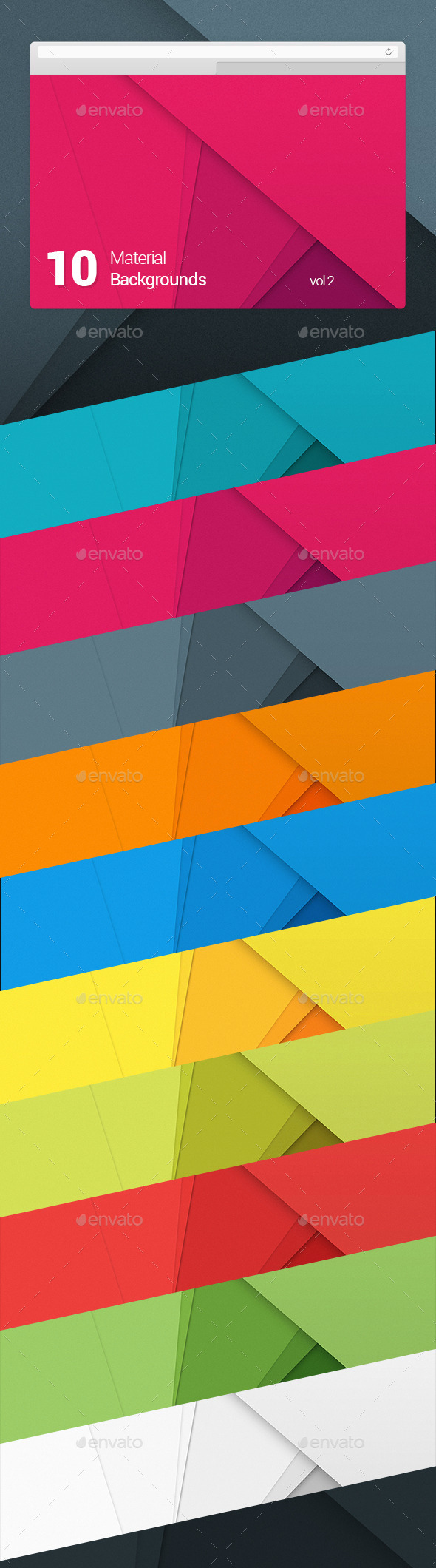 10 Material Design Backgrounds Vol 2 - Abstract Backgrounds