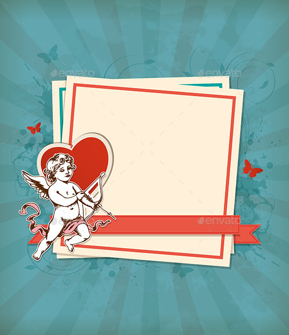 Green Background with Cupid - Valentines Seasons/Holidays