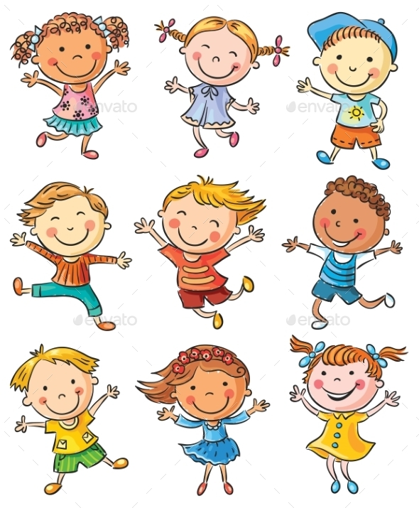 Nine Happy Kids Dancing or Jumping - People Characters