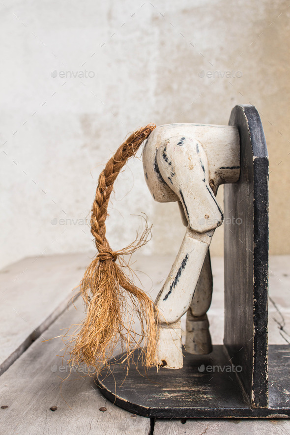 Bookmark the wooden horse - Stock Photo - Images
