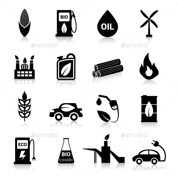 Bio Fuel Icons Black - Web Elements Vectors