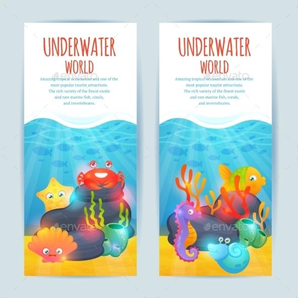 Underwater Sea Animals Vertical Banners Set - Animals Characters