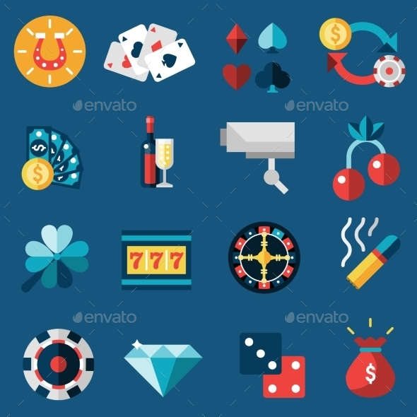 Casino Icons Set - Objects Vectors