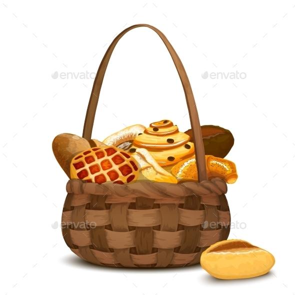 Bakery In Basket - Food Objects