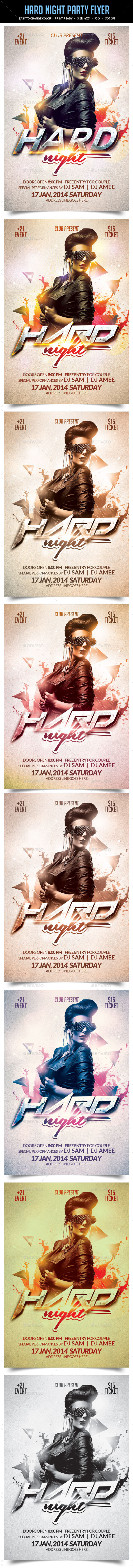 Hard Night Party Flyer - Clubs & Parties Events