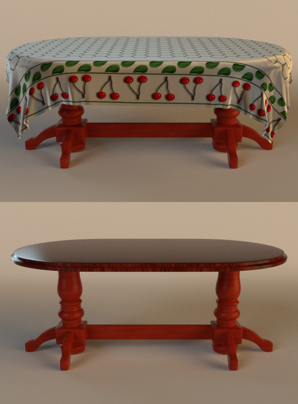 table with cloth - 3DOcean Item for Sale