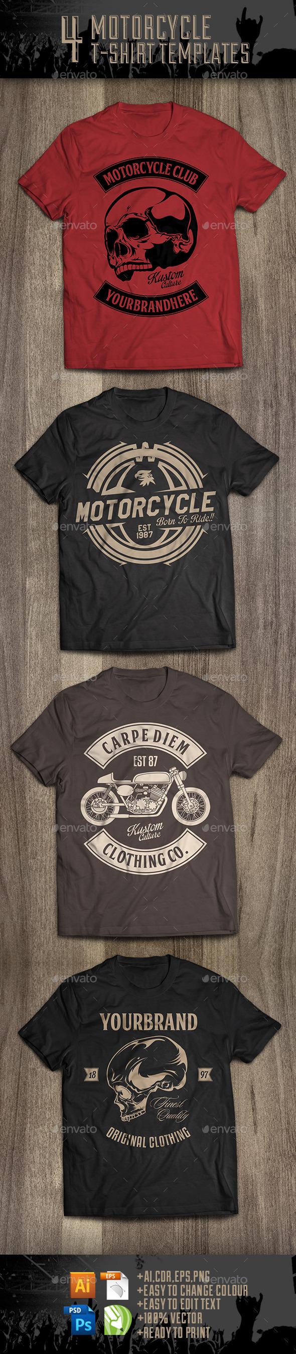 4 Motorcycle T-Shirt Templates - Sports & Teams T-Shirts