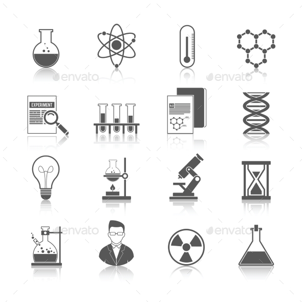 Chemistry Icons Black - Web Elements Vectors