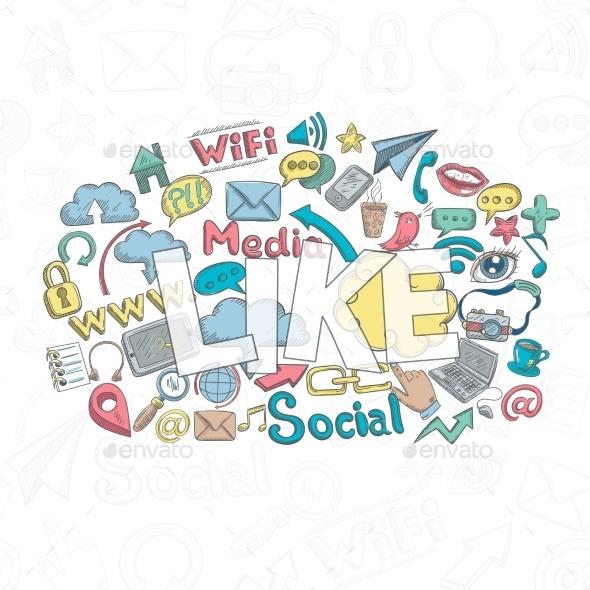 Social Doodle Like - Decorative Vectors