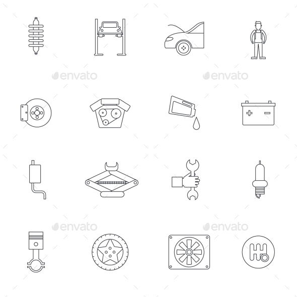 Auto Service Outline Icon - Web Icons