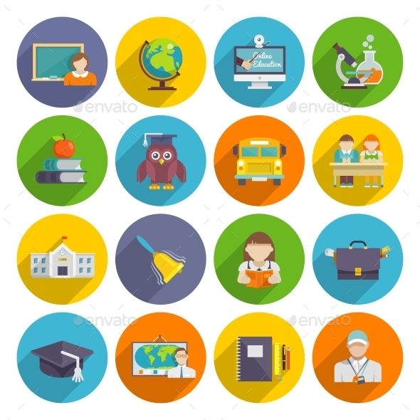School Icon Flat - Web Elements Vectors