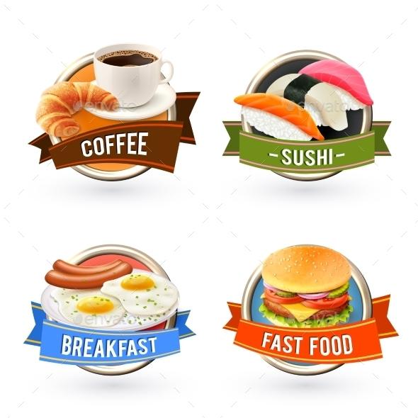 Breakfast Labels Set - Food Objects