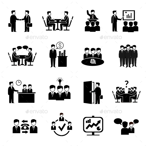 Meeting Icons Set - People Characters