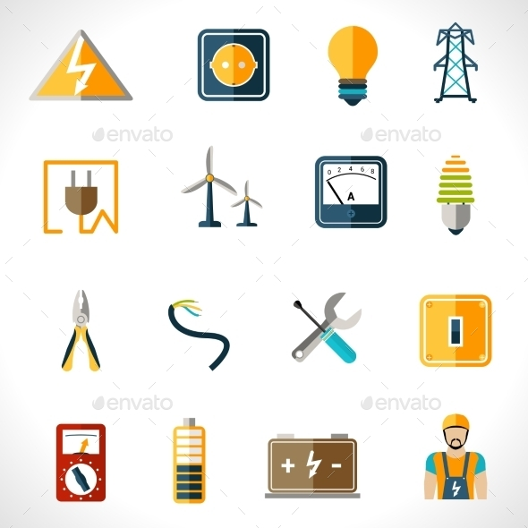 Electricity Icons Set - Technology Icons