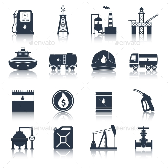 Oil Industry Icons Black - Web Icons