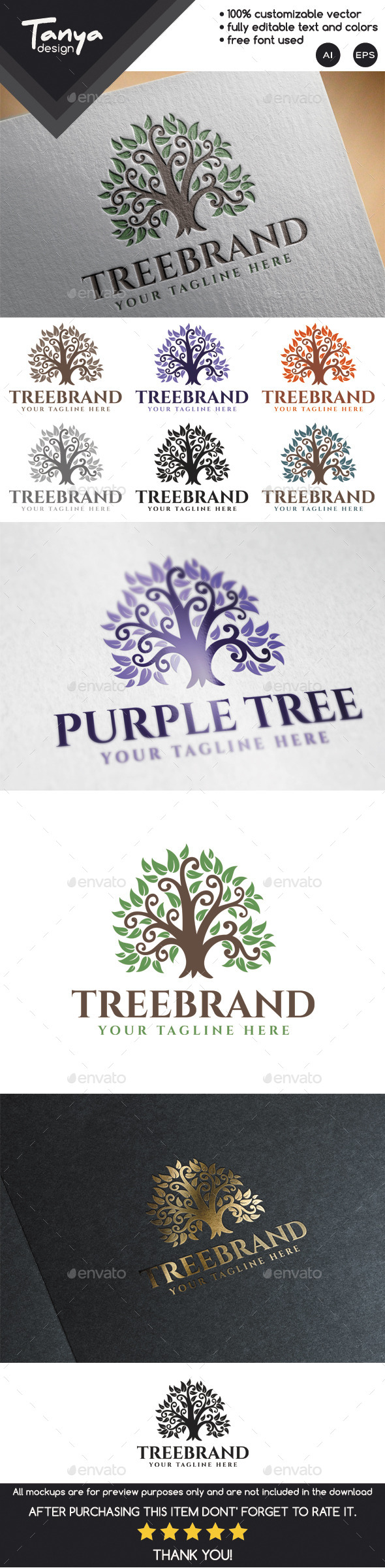 Tree Brand Logo Template - Nature Logo Templates