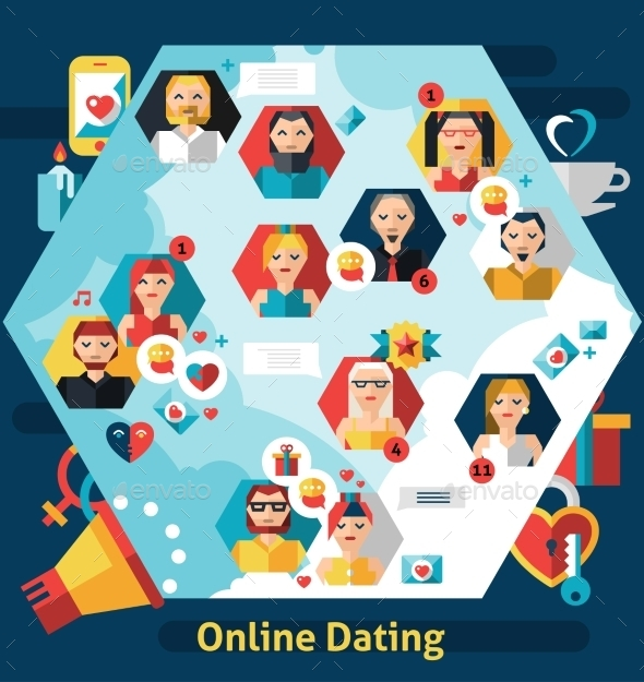 Online Dating Concept - People Characters