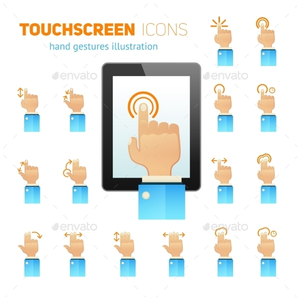 Touch Screen Gestures Icons - Computers Technology