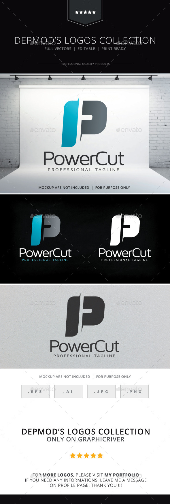 Power Cut Logo - Letters Logo Templates