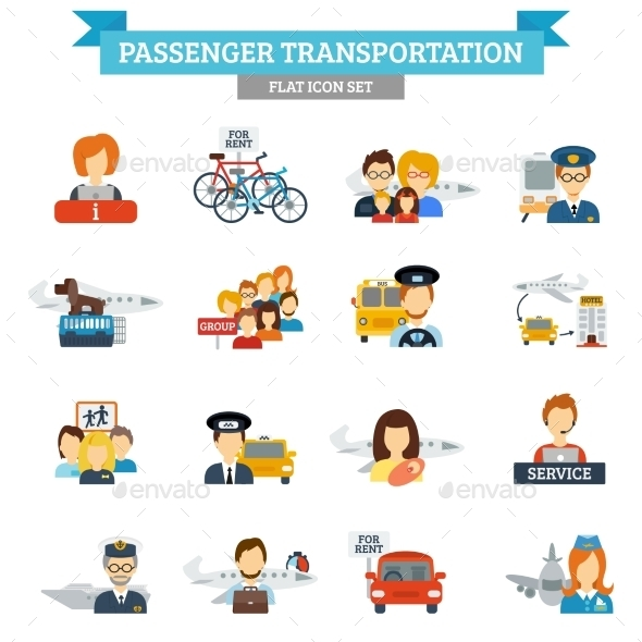 Passenger Transportation Icon Flat - People Characters