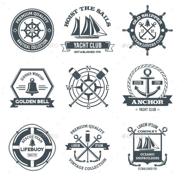 Nautical Label Black - Miscellaneous Vectors