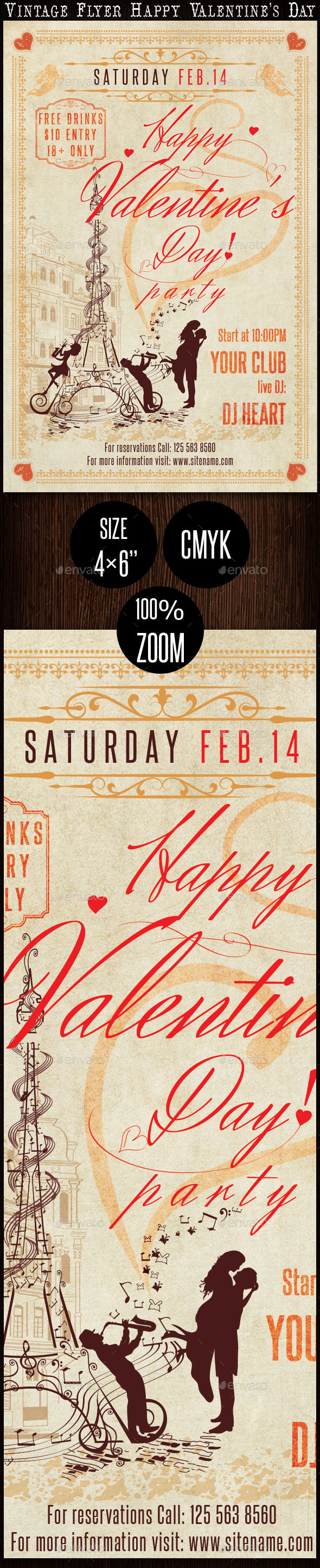 Vintage Flyer Happy Valentine's Day - Clubs & Parties Events