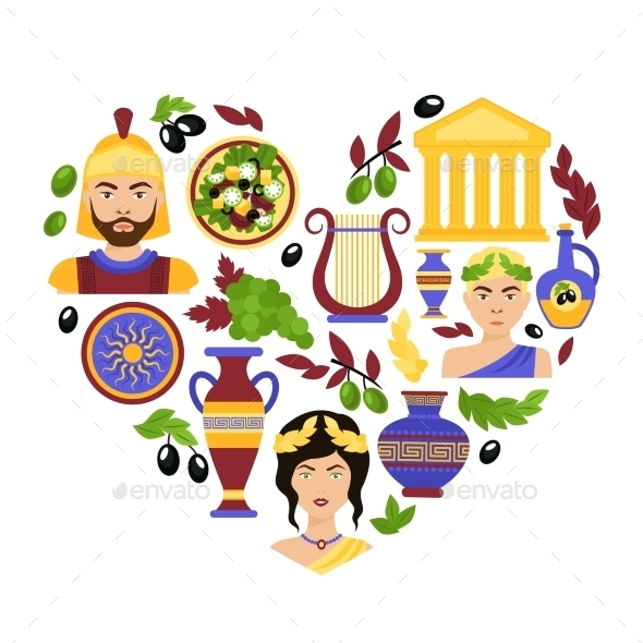 Greece Symbols Heart - Travel Conceptual