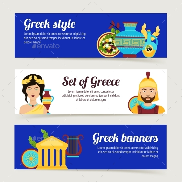 Greece Banner Set - Travel Conceptual